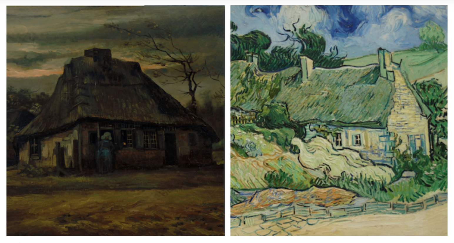 Van Gogh paints a cottage a few years apart. Note the first one is dark and somber, the second is light and whimsical. This is a window into the life of a Four.