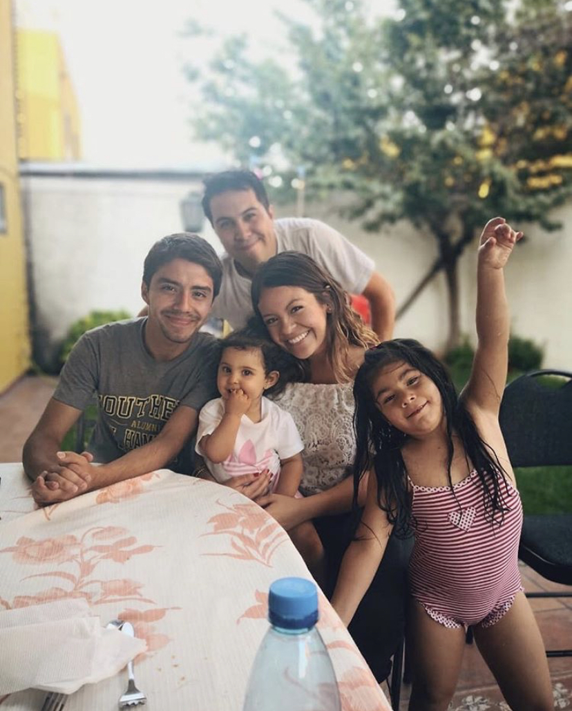 Ariel with one of the Chilean families she has fallen in love with.