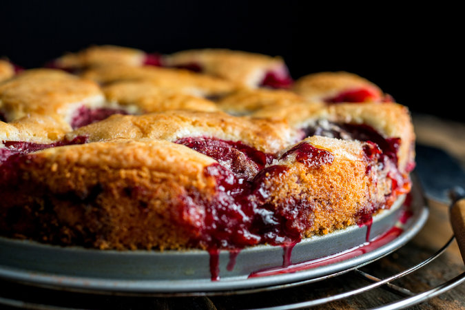 INGREDIENTS   ¾ to 1 cup sugar  ½cup unsalted butter, softened  1 cup unbleached flour, sifted  1 teaspoon baking powder  Pinch of salt (optional)  2 eggs  24 halves pitted purple plums  Sugar, lemon juice and cinnamon, for topping     INSTRUCTIONS   Heat oven to 350 degrees.  Cream the sugar and butter in a bowl. Add the flour, baking powder, salt and eggs and beat well.  Spoon the batter into a springform pan of 8, 9 or 10 inches. Place the plum halves skin side up on top of the batter. Sprinkle lightly with sugar and lemon juice, depending on the sweetness of the fruit. Sprinkle with about 1 teaspoon of cinnamon, depending on how much you like cinnamon.  Bake 1 hour, approximately. Remove and cool; refrigerate or freeze* if desired. Or cool to lukewarm and serve plain or with whipped cream. (To serve a torte that was frozen, defrost and reheat it briefly at 300 degrees.)   *To freeze, double-wrap the torte in foil, place in a plastic bag and seal.