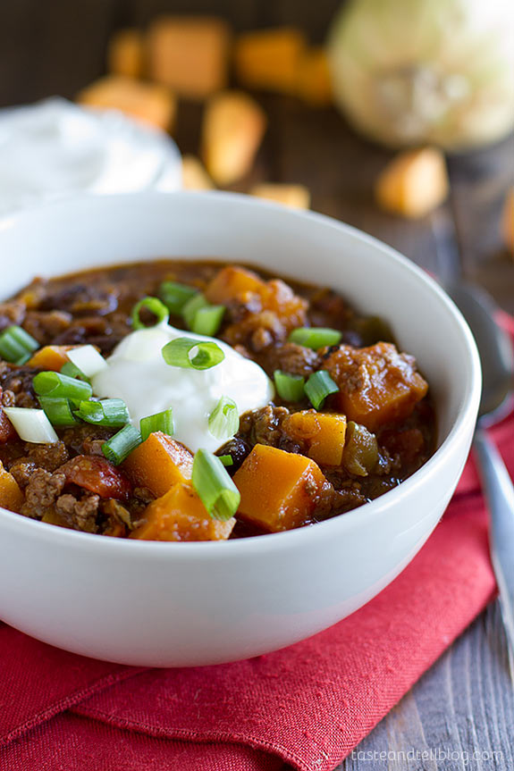 Butternut Squash and Grass Fed Beef Chili