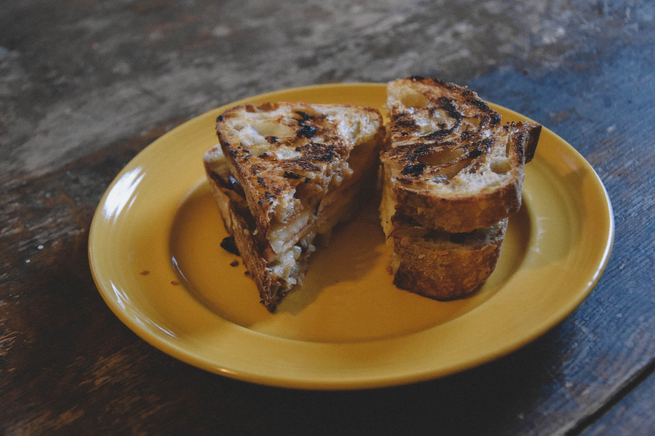 Caramel, Cheddar, and Apple Grilled Cheese