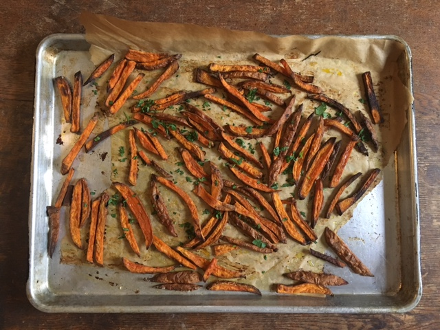 Curried Sweet Potato Fries with sweet potatoes from Burnt Rock Farm.
