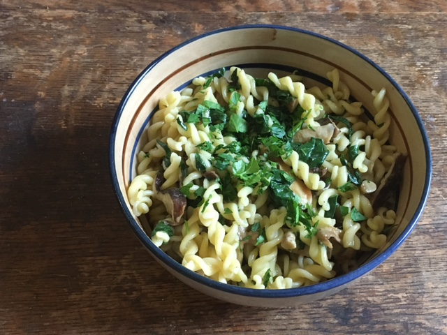 Pasta with shiitake from AH Mushrooms, chard from Miskell's Premium Organics, and parsley from Red Wagon Plants.