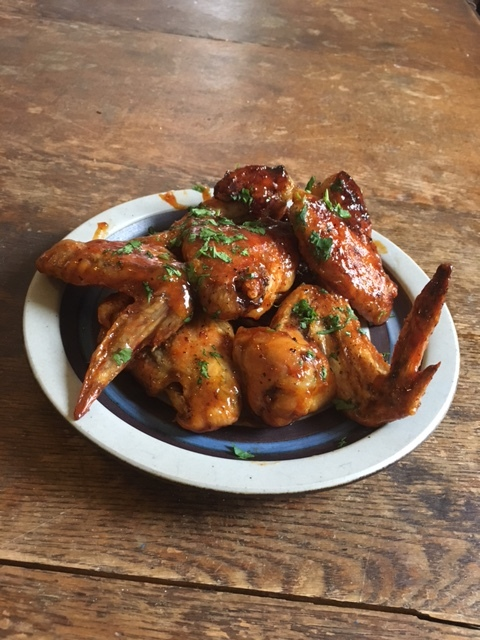 Honey Sriracha Wings made with Pasture Raised Chicken Wings from Made with Maple Wind Farm and BTV Honey