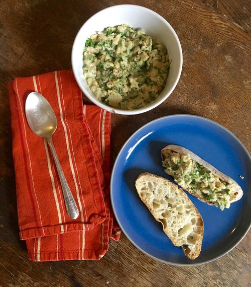 Chickpea Yogurt Dip with yogurt from Butterworks Farm and parsley from Red Wagon Plants, served with Ciabatta from Red Hen Baking Company.
