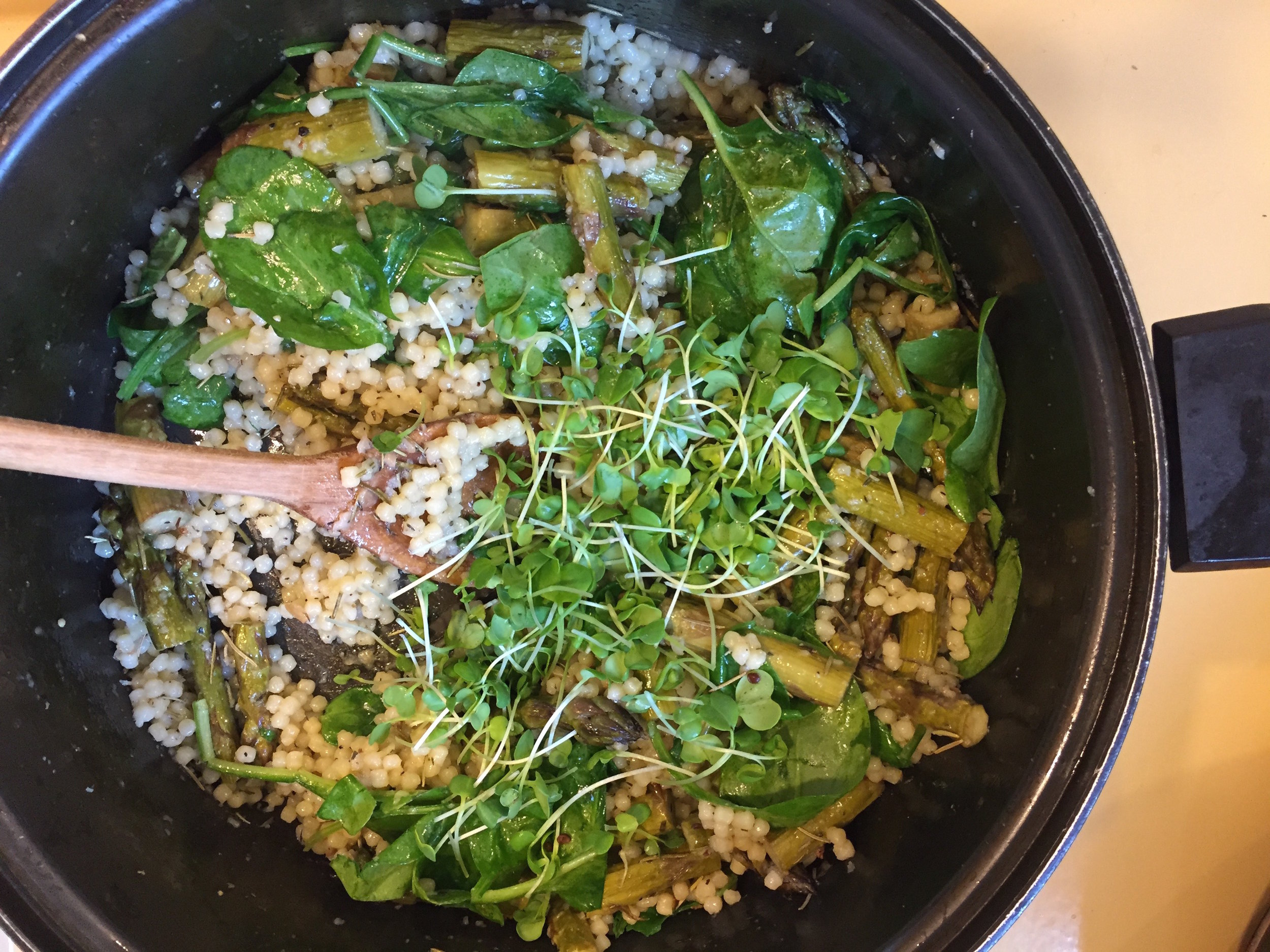 Adding Spinach and Microgreens to Couscous