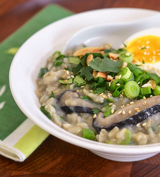 brown rice congee with greens
