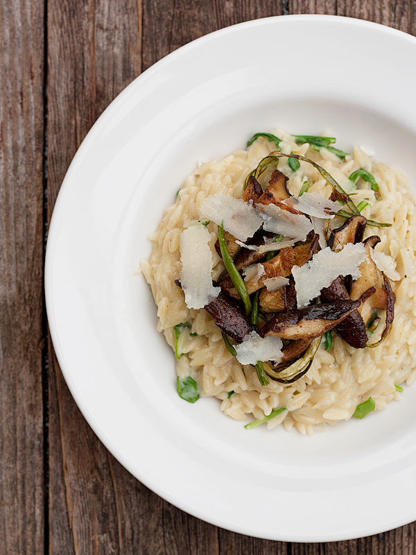 Orzo risotto with garlic scapes and shiitakes