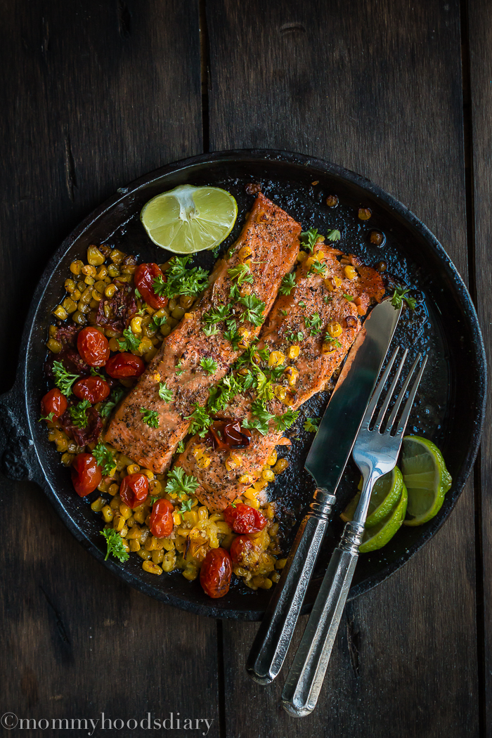 salmon with tomatoes and corn