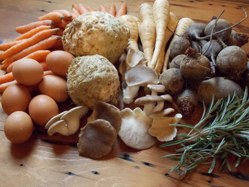 Vermont eggs, herbs, mushrooms, and vegetables from our Fall/Winter Season