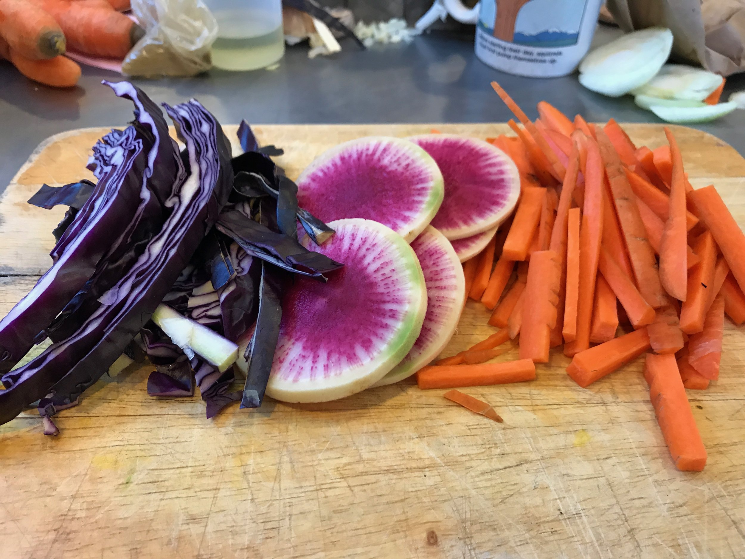 carrot and watermelon radish salad