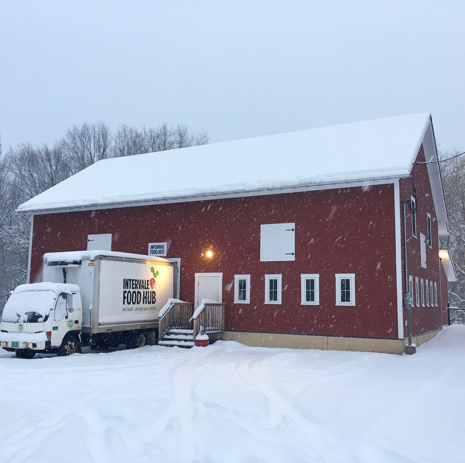 Intervale Food Hub in Snow