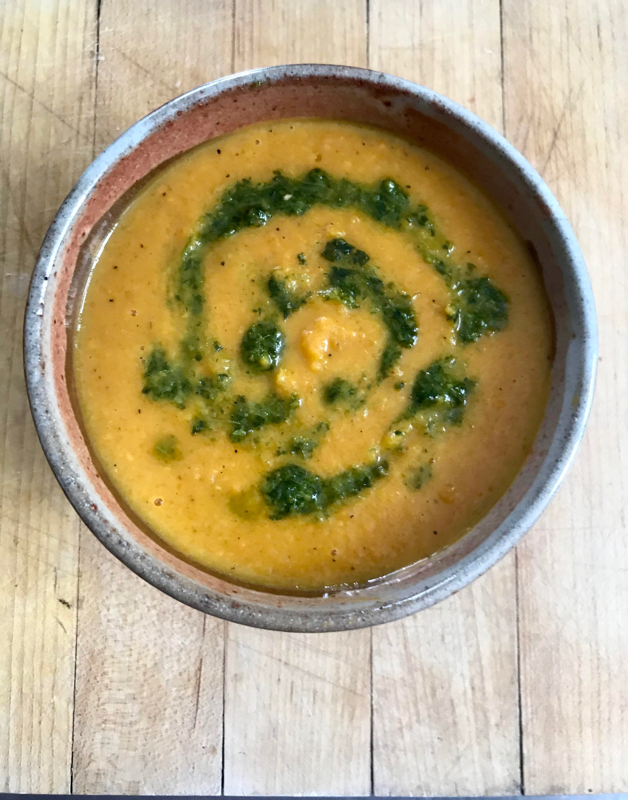 Sweet Potato and Butternut Squash Coconut Curry Soup