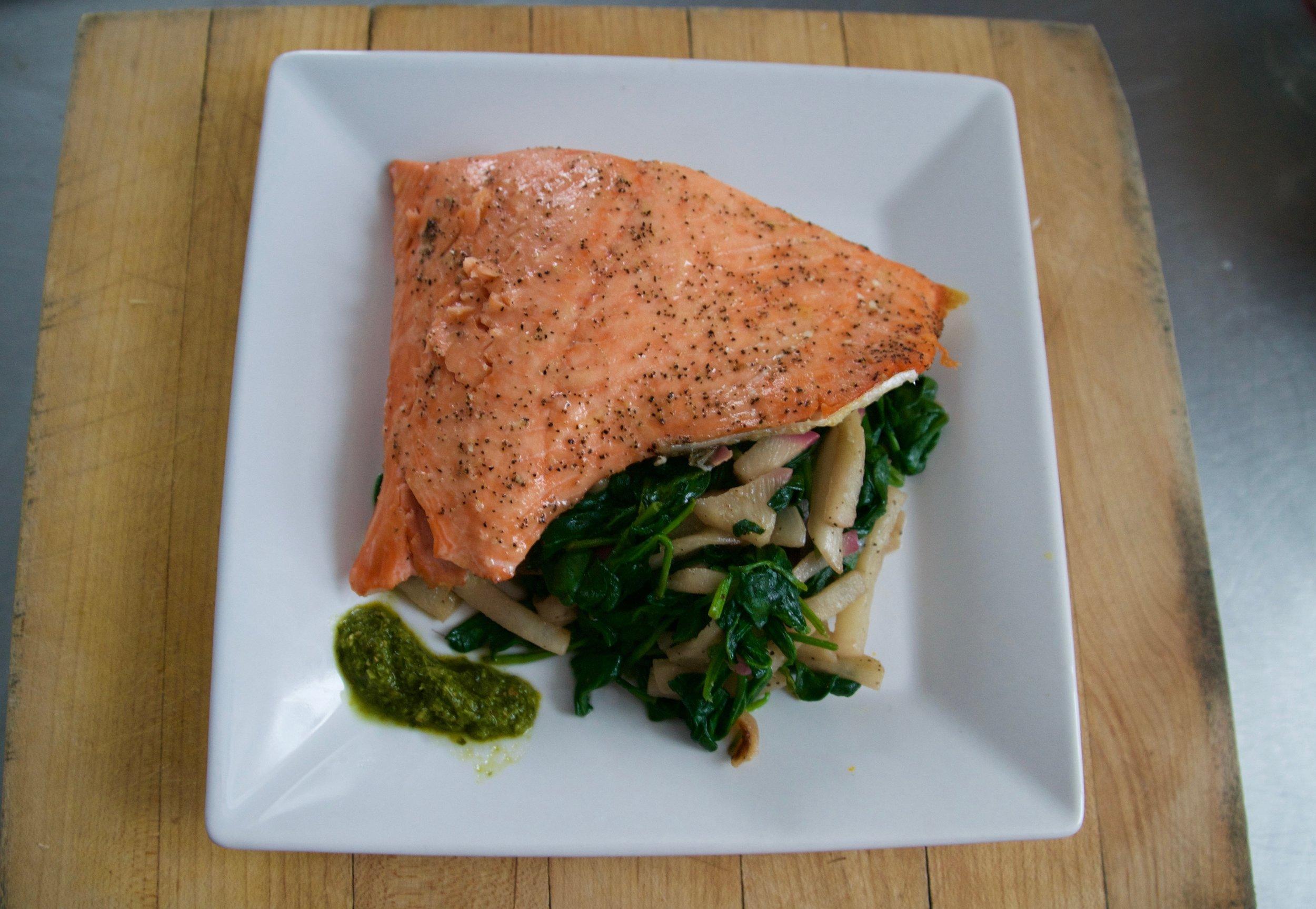Salmon with Sautéed Turnips and Greens