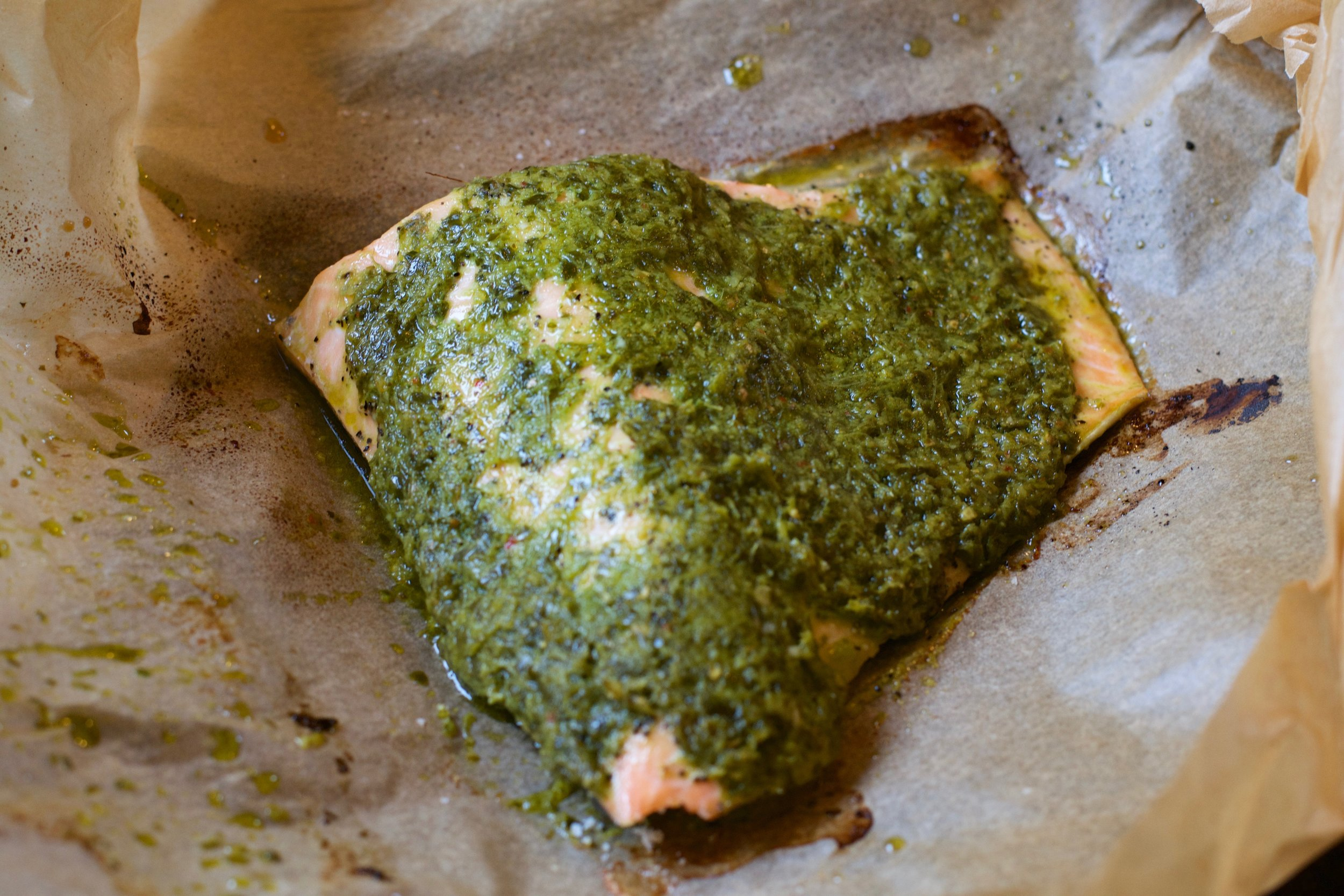 Baked Salmon with Chermoulah