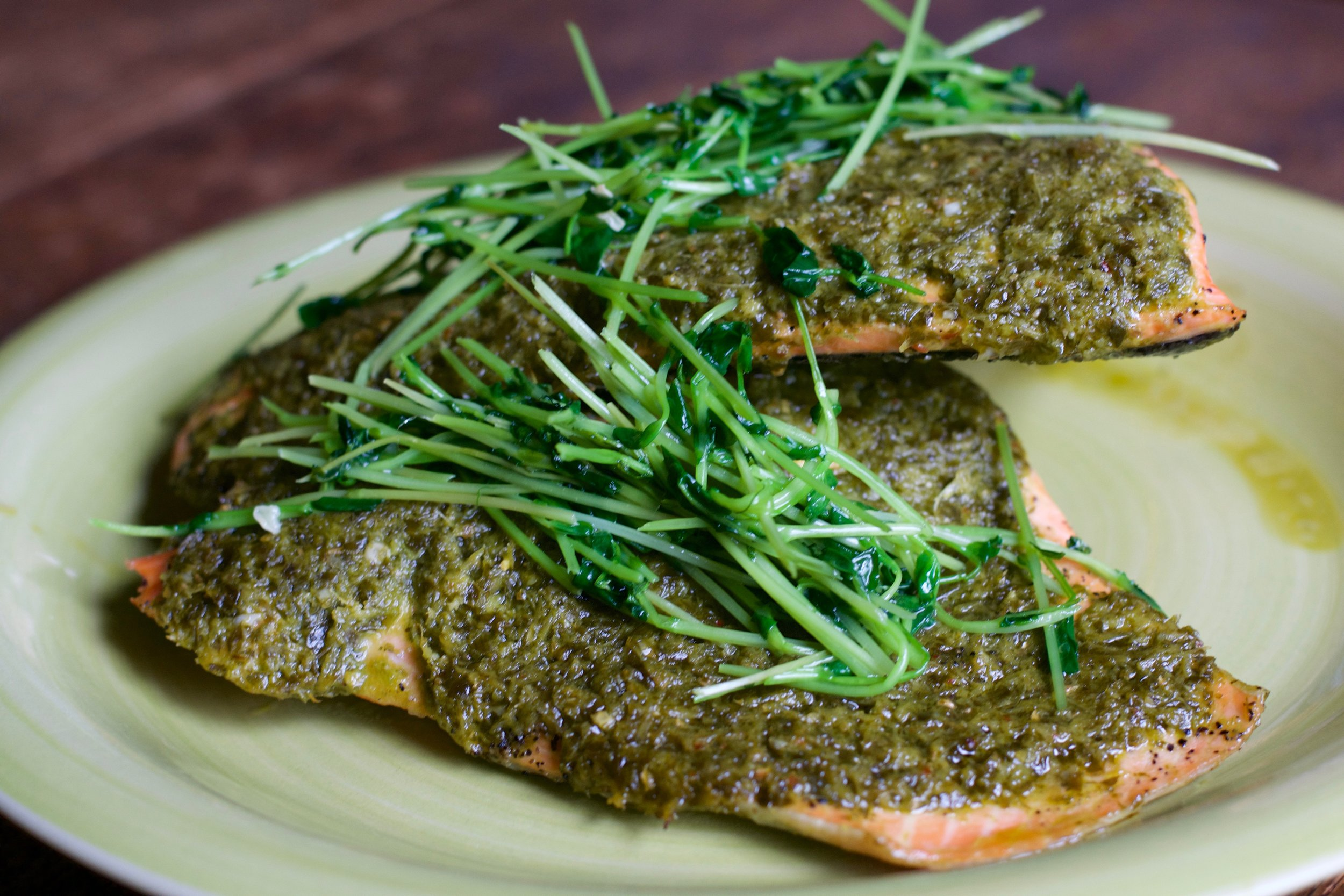 Baked Salmon with Chermoulah and Sauteed Pea Shoots