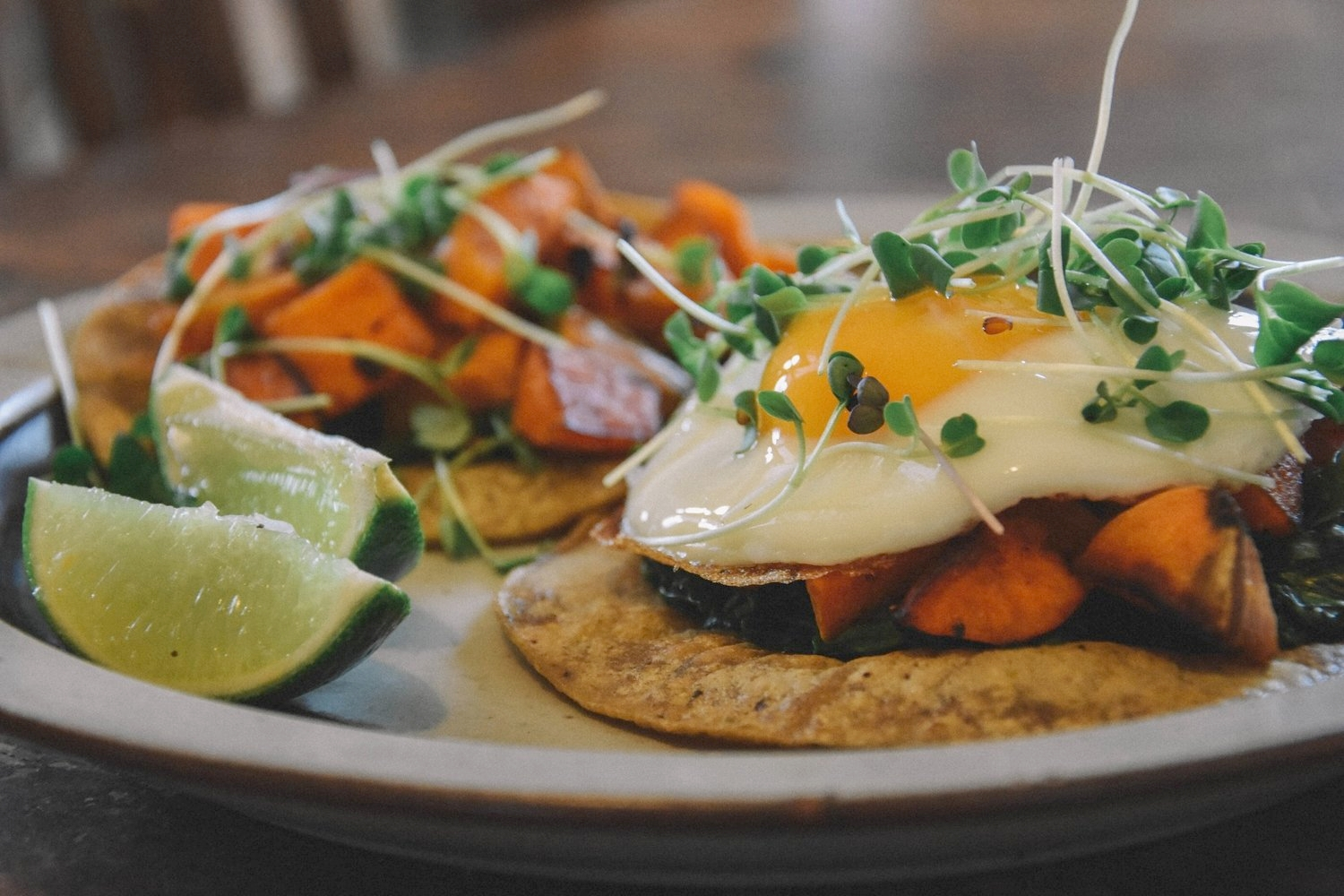 Tacos with Sweet Potatoes and Microgreens, All Souls Tortilleria Tortillas, and a fried Besteyfield Farm egg!