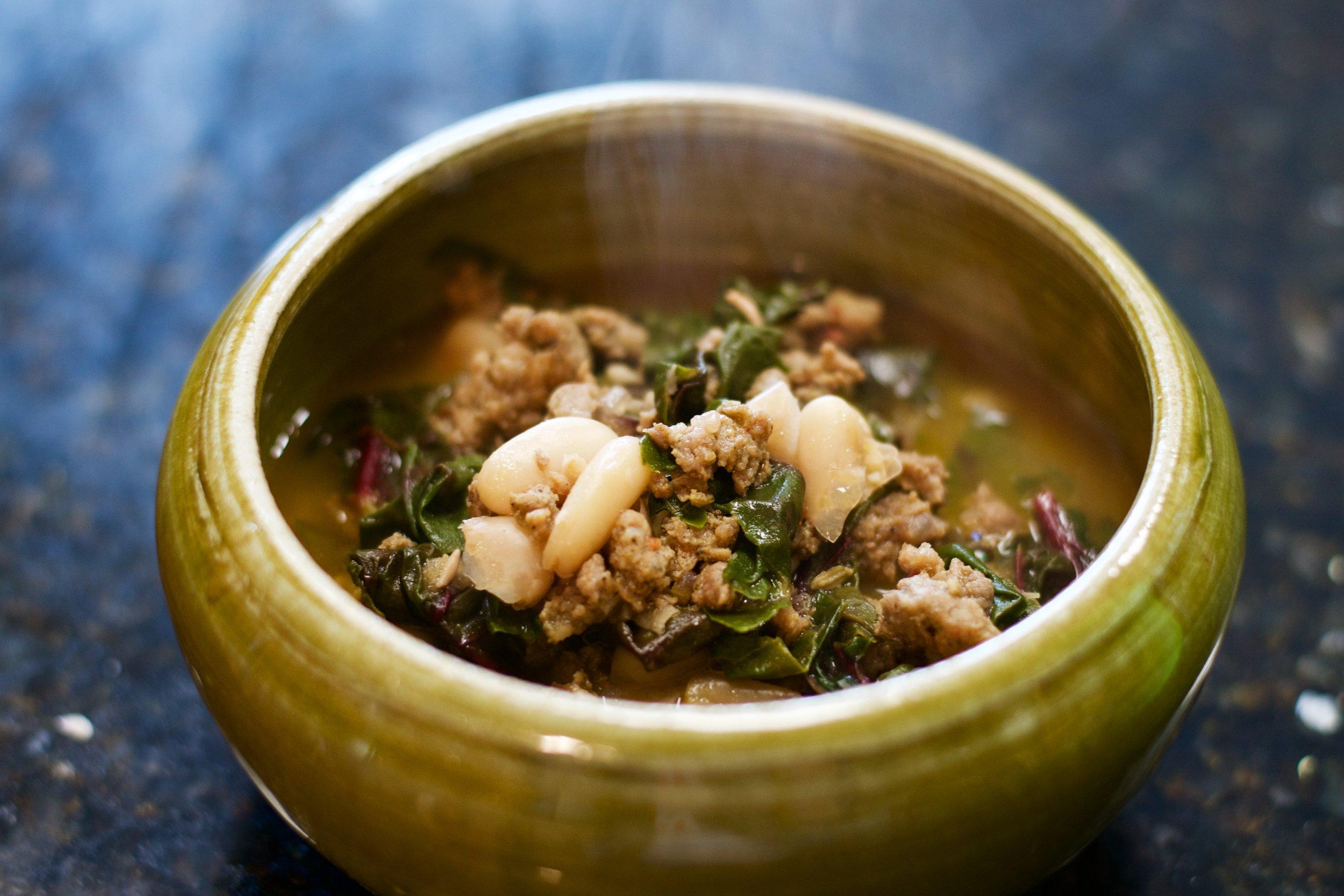 Sausage, Bean & Chard Soup