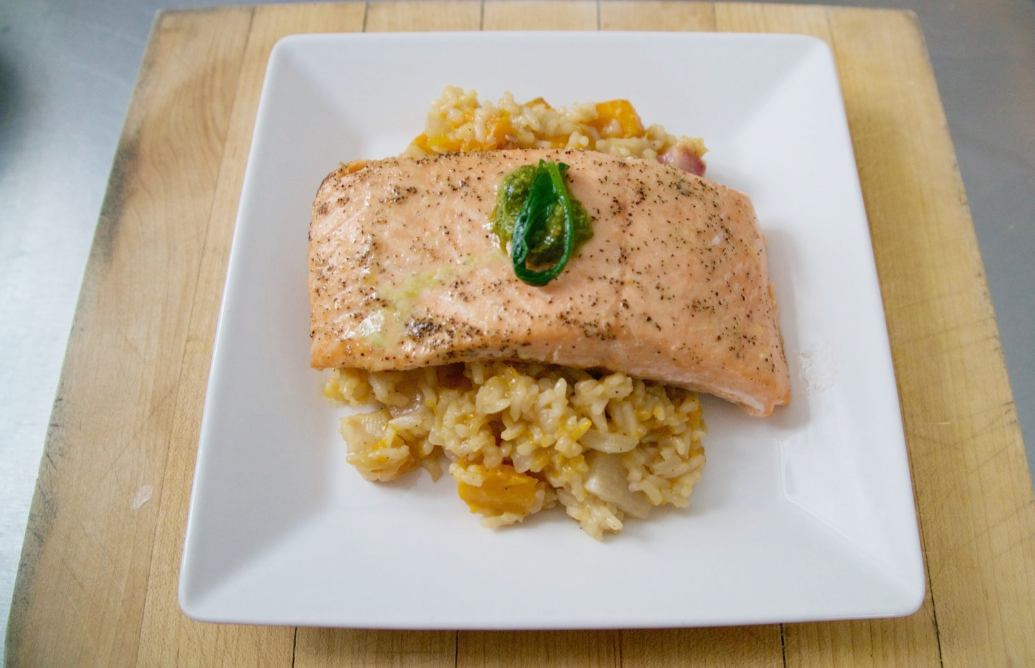 Salmon with Roasted Vegetable Risotto