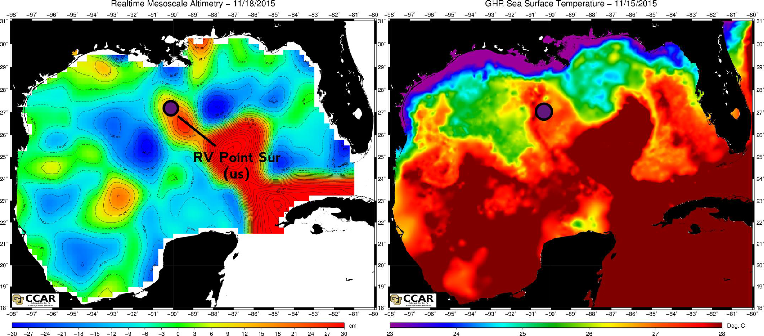 Sailing on top of a warm-core eddy, as seen by the sea-surface height map (left) and the sea-surface temperature map (right). Hot stuff!Source: CCAR