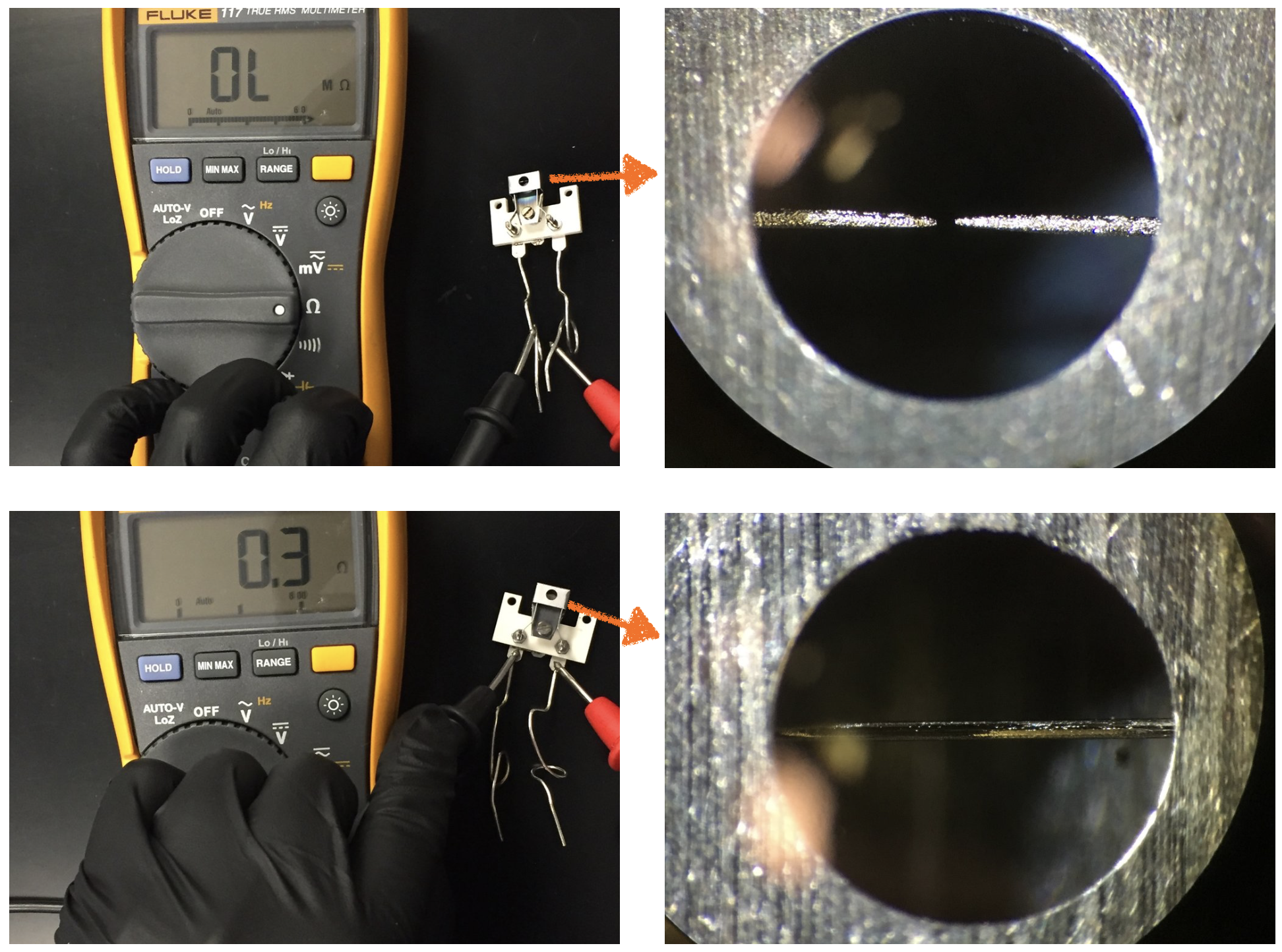 Continuity is broken in the faulty filament and you can see that its tungsten wire is broken (top two images) whereas the new filament (below) displays a resistance of 0.3Ω and contains an intact tungsten wire.