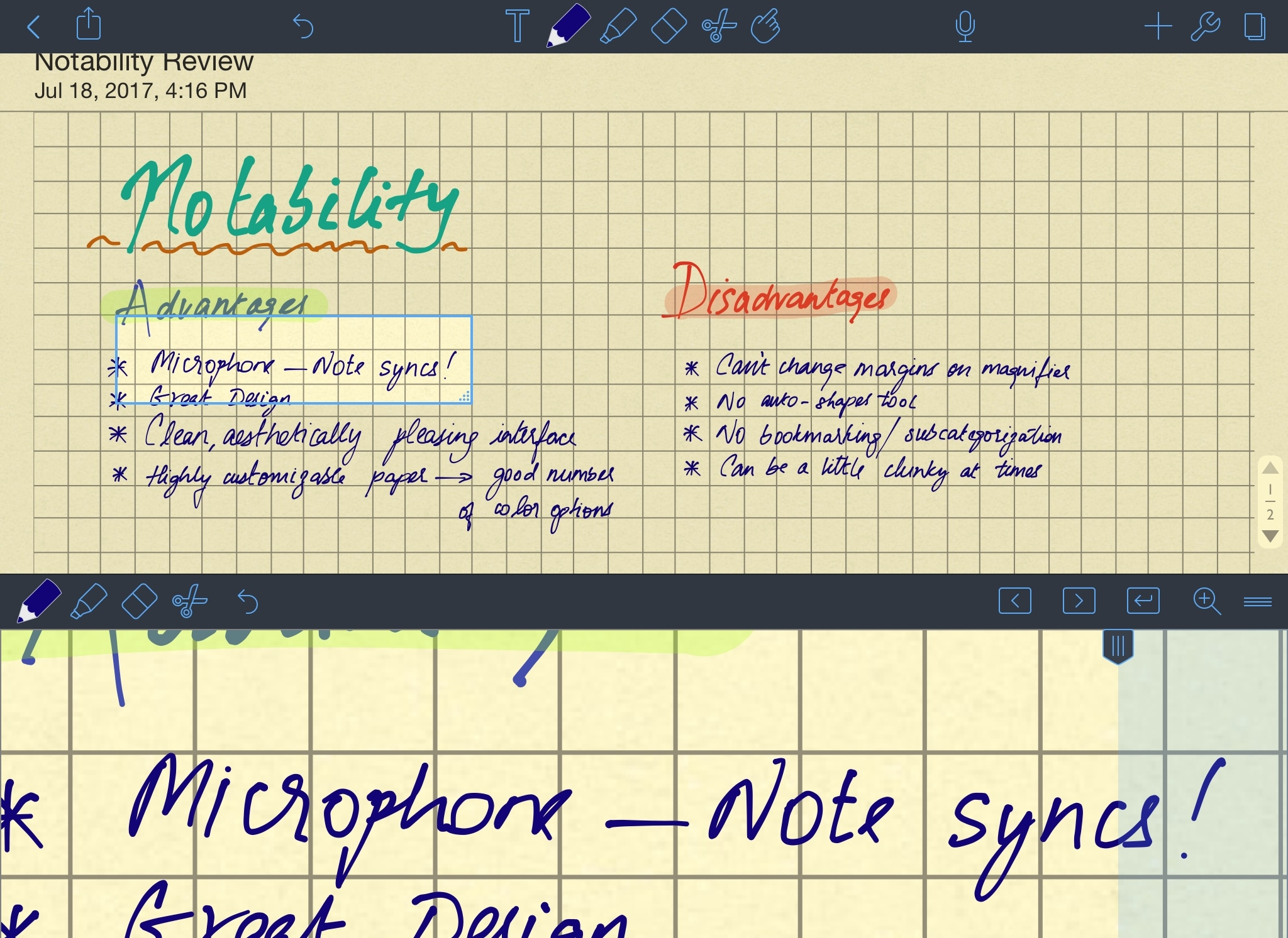 An example screenshot from Notability.