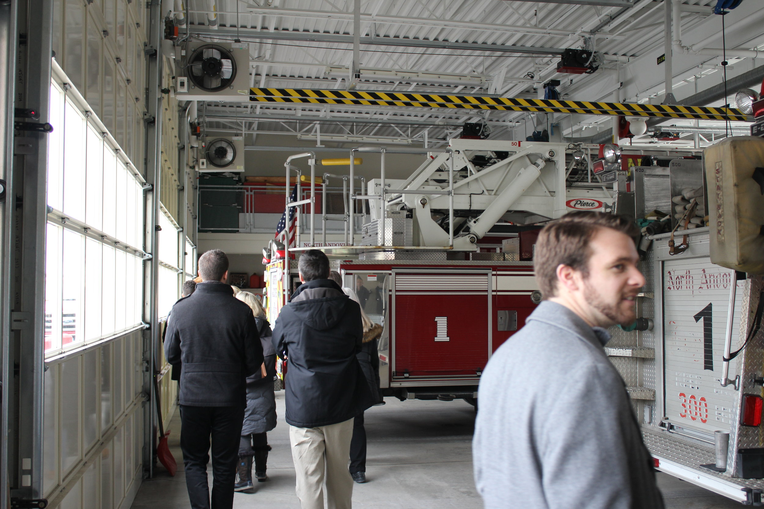 Inside the apparatus bay at north andover central fire station