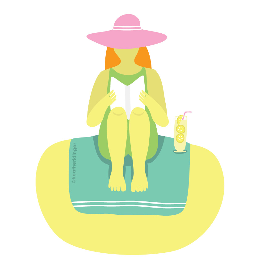 Beach Reads vector illustration. Celebrate summer on the beach with a good book.