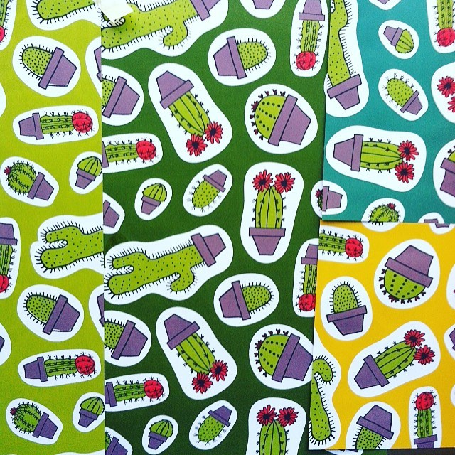 Cacti pattern in progress. Searching for the right background color. #penandink #pattern #cacti #cactus #illustration #desert #plants