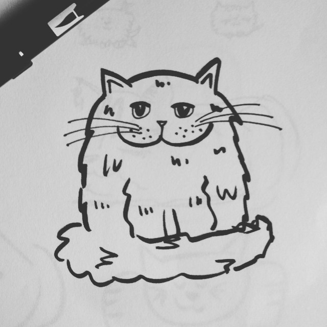 New pen. Drawing cats (of course). Love this guy.