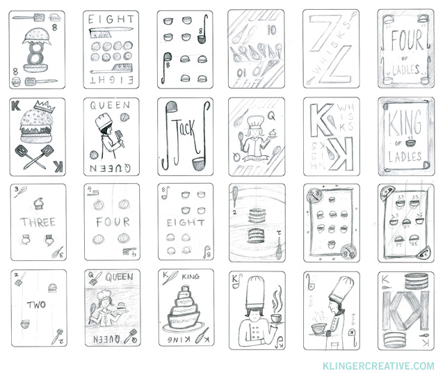 """Playing Cards:  Process  I created a lot of sketches for this project to determine how I wanted the cards to look. There are many different ways to layout the cards, especially the number cards. They are also all slightly different which adds to the challenge. Some ideas were more experimental than others and I wanted to try a range before deciding on the final design. I experimented with using the names of numbers, for example writing """"four"""" instead of """"4"""". Ultimately, I went with using numbers, but I still like the idea of words. (Maybe for the next deck.)  It was decided early on that I would replace the standard suits with unique ones, in this case cooking tools that relate to a specific meal. Ladle/soup (appetizer), bread knife/bread (side dish), spatula/burger (main dish), and whisk/cake (dessert).   Next post, the face cards ."""
