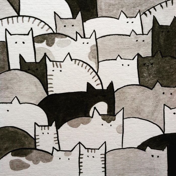 Jumble of cats. Pen and ink. 2016.