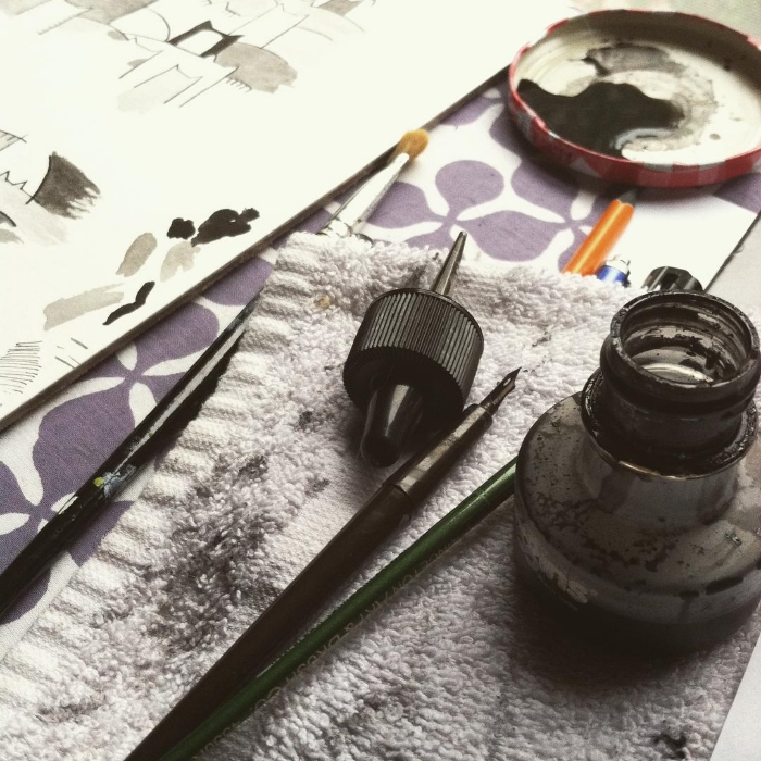 Ink wash painting on a rainy day.