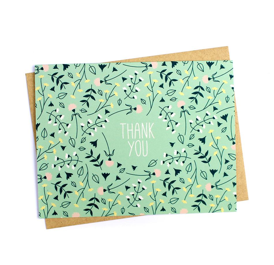 Mint Floral Print Thank You Card Klinger Creative