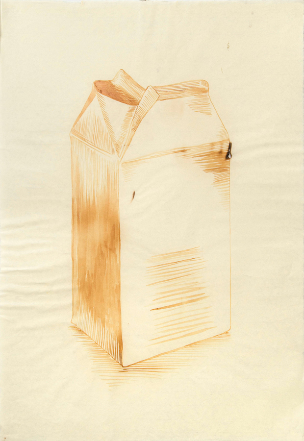"Milk Carton 2  ©2002 Milk on Paper 39"" x  26"""