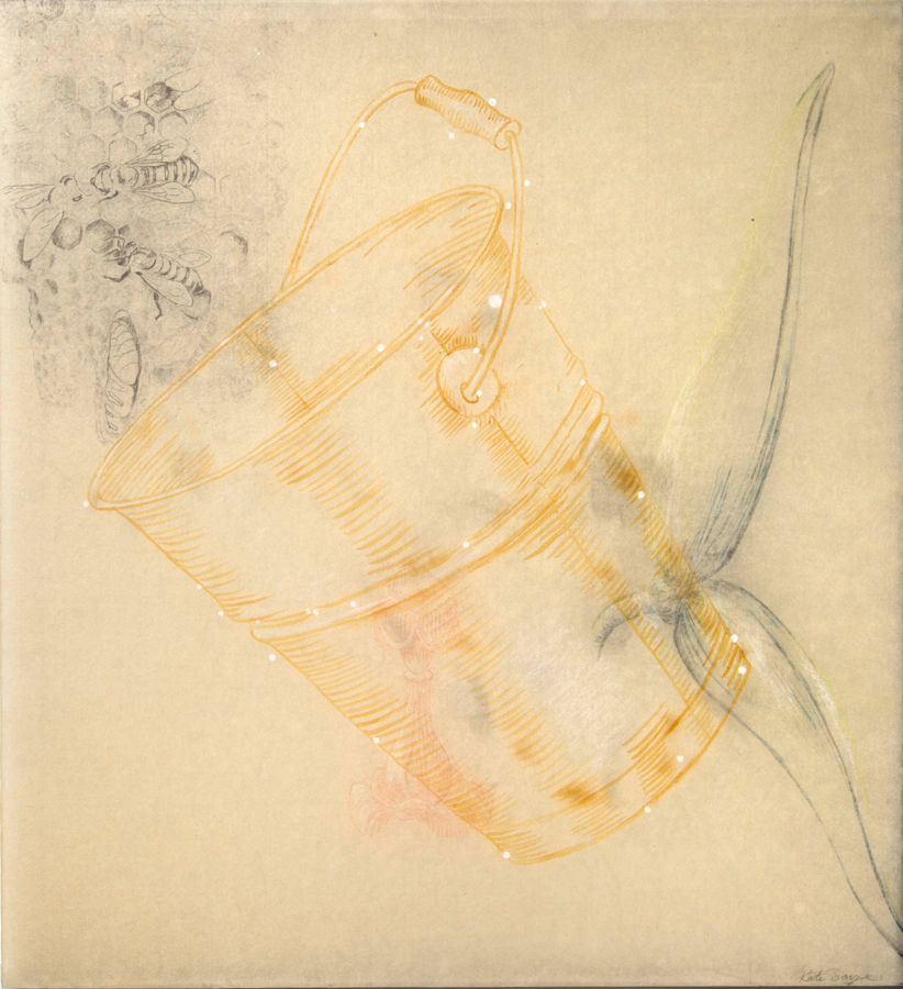 "Milky Bucket  ©2001 Acrylic, Milk, Graphite and Colored Pencil on paper and Acrylic Panel 22"" x  20"""