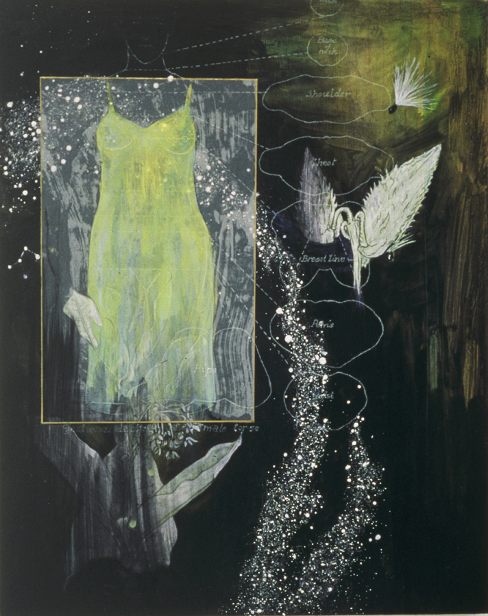 "Mother Dream 1  ©2001 Acrylic and Collage on Wood Panel 17"" x  14""  Collection of Constance Finley, Redmond, CA"