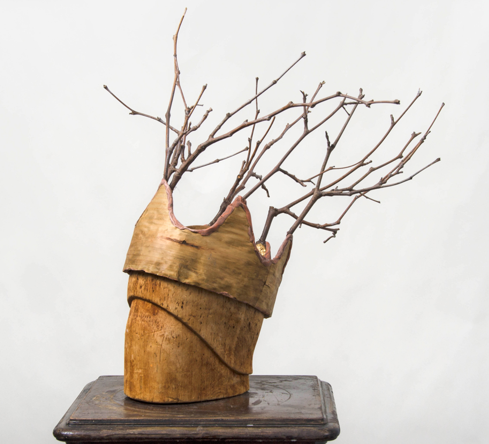 Twig Crown  ©2012 Plaster, Wood Verneer, Twigs