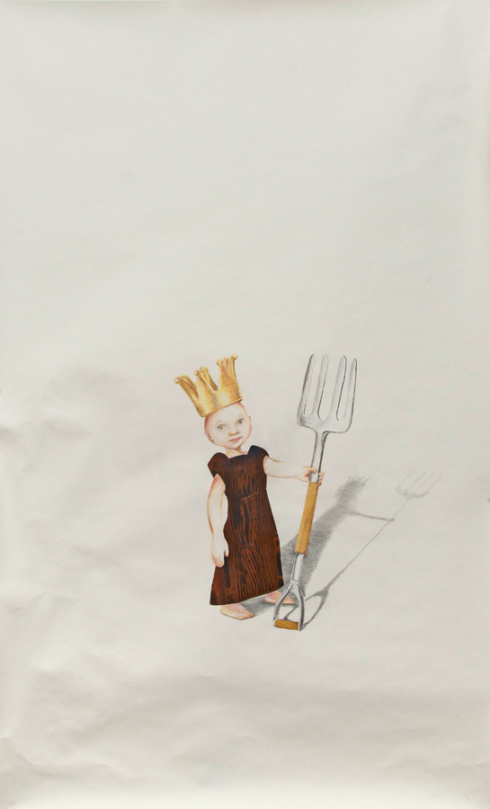 """Pitchfork King ©2013 Collage, Colored Pencil and Graphite on Paper 70"""" x 40"""""""