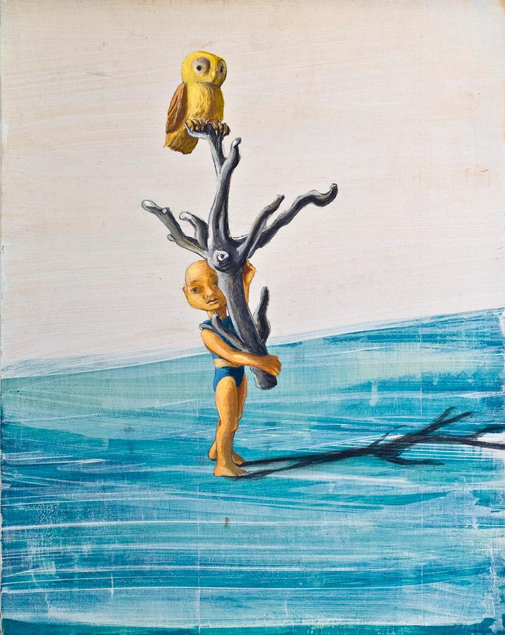 "Gladly © 2013 Acrylic, Egg Tempra and Graphite on Wood Panel 14"" x 11"""
