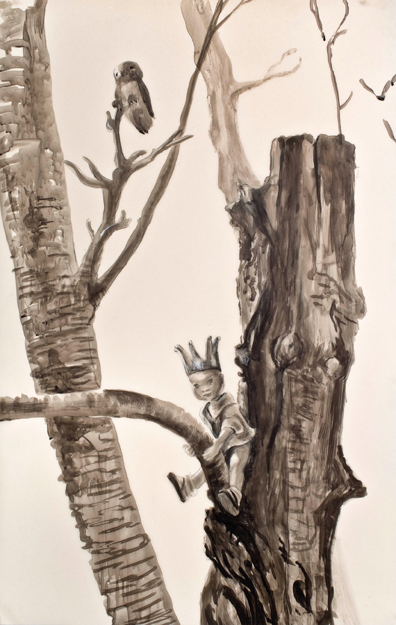 "Tree Climber  ©2010 India Ink on Dura Lar 40"" x 25""  Collection of Dr. Michael Rotblatt and Mia Goldman, Los Angeles, CA"