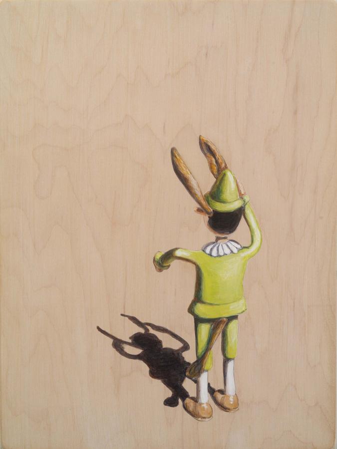 """Ass ©2006 Acrylic on Wood 12"""" x 9"""""""