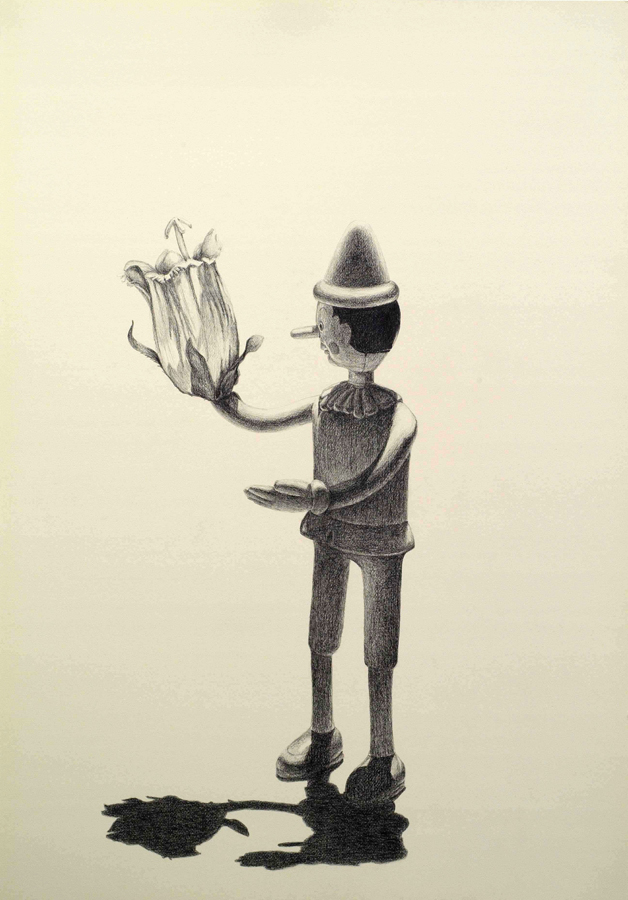 """Bloomer  ©2006 Graphite on Paper 40"""" x 28""""  Collection of Julia Ward, San Francisco, CA"""