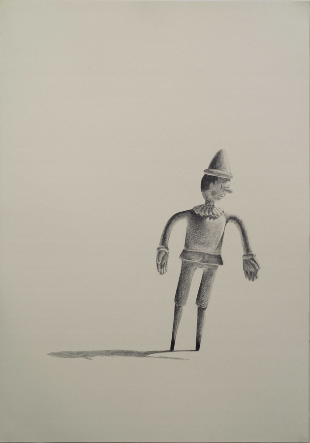 """Burnt Feet  ©2005 Graphite and Charcoal on Paper 40"""" x 28""""  Collection of Bruce Kirschbaum, Palm Springs, CA"""