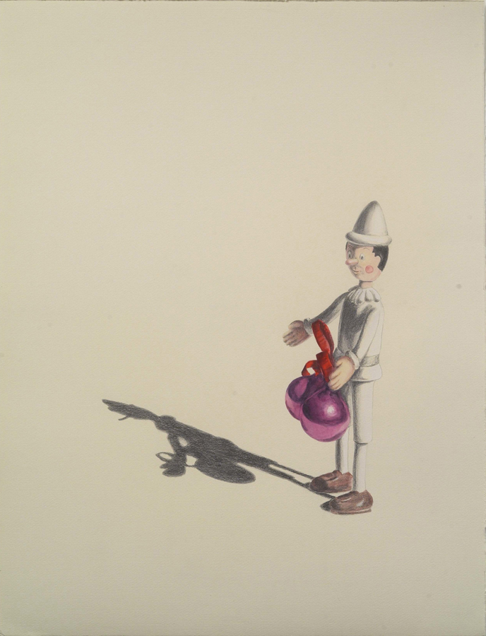 """Jingle Balls  ©2005 Graphite and Watercolor on Paper 24"""" x 18""""  Collection Anonymous, Los Angeles, CA"""