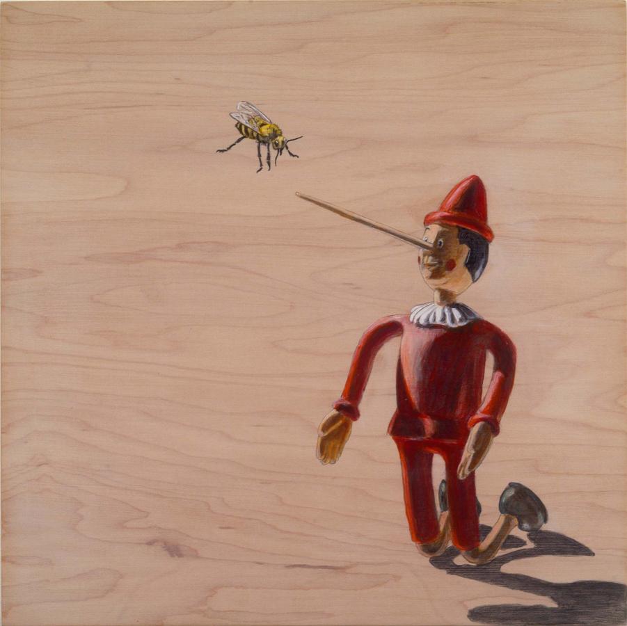 "Liar Bee  ©2006 Acrylic on Wood Panel 12"" x 12""  Collection Susan Andrews, Venice, CA"