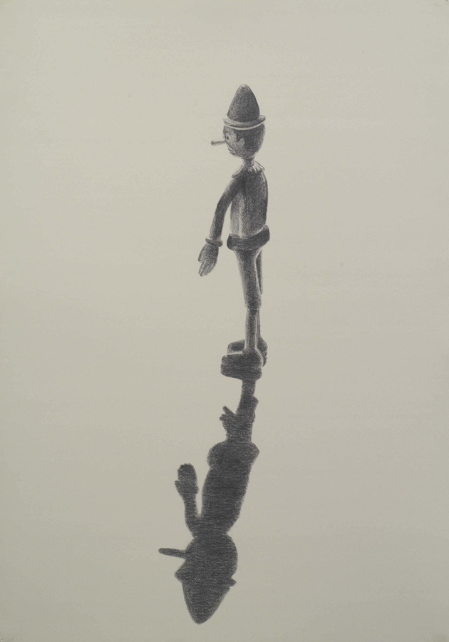 """Long Shadow  ©2005 Graphite on Paper 40"""" x 28""""  Collection Bruce Kirshbaum, Los Angeles, CA"""