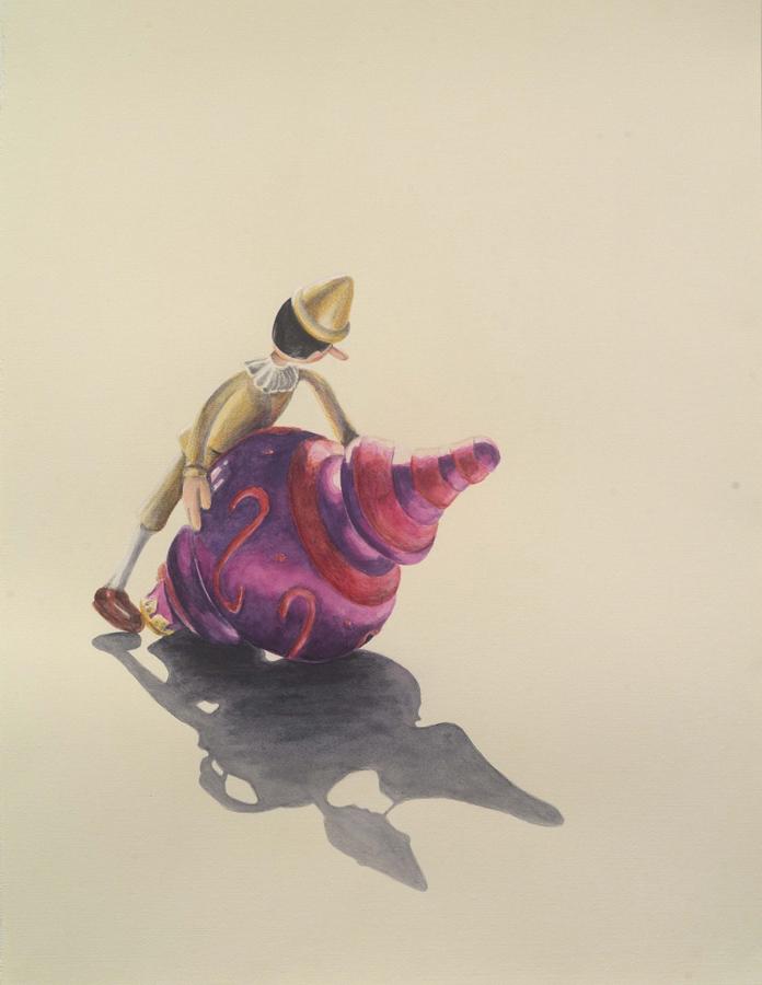 "Ornamental  ©2005 Graphite and Watercolor on Paper 24"" x 18""  Collection Mark X Farina, Los Angeles, CA"