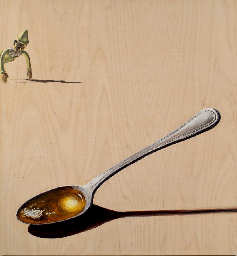 "Silver Spoon  ©2005 Acrylic on Wood Panel 30"" x 28"""