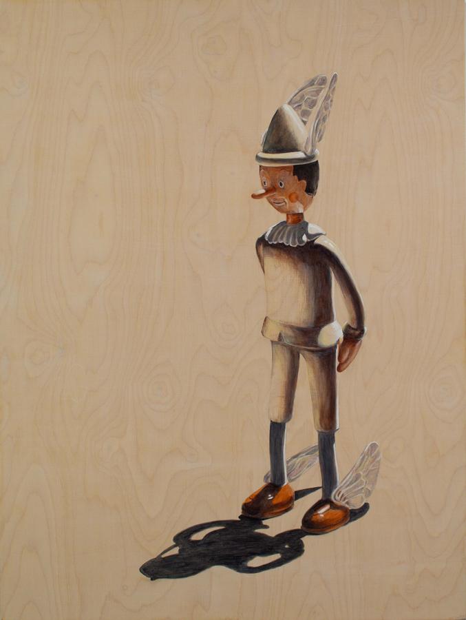 """The Messenger Hesitates  ©2006 Acrylic on Wood Panel 52"""" x 42"""""""